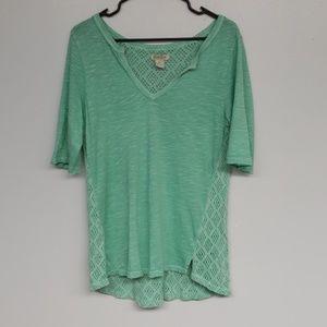 Lucky Brand Green V-neck Top